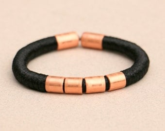 Black rope bracelet with copper, black and copper rope bracelet, wrapped textile bracelet black, fabric rope bracelet black with copper