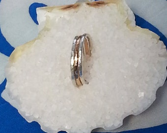 Hammered Sterling Silver and Gold Fill Stack Ring