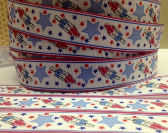"""Very Cute Rockets and Stars  7/8""""  (22mm)  bright colors Grosgrain Ribbon"""