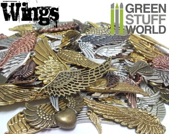 Set 85gr. - WING Beads Mix - 20-25 units - sizes 1-6cm - Wings Steampunk set
