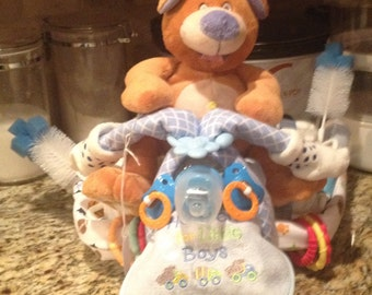 Boy tricycle diaper cake