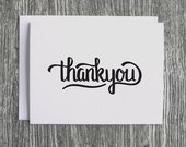 Thank You - Hand-lettered Script Calligraffiti - Letterpress Blank Greeting Card on 100% Cotton Paper