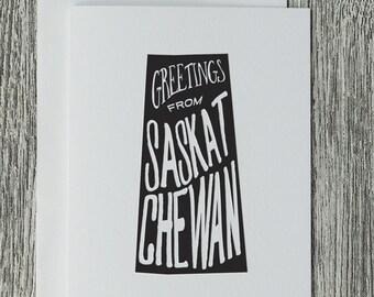 Greetings From Saskatchewan - Letterpress Blank Greeting Card on 100% Cotton Paper