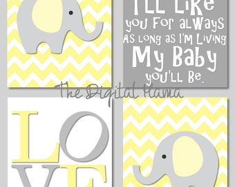 INSTANT DOWNLOAD - 8X10 Baby Nursery Art - Digital Download - Yellow & Gray - Elephants - LOVE