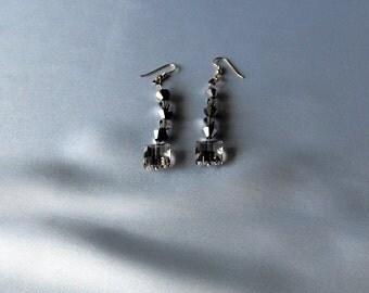 Gray Chinese Crystal Earrings - Crystal Earrings - BD-902