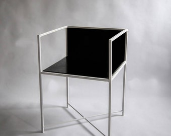 "Steel and oak modernist armchair ""KING"""