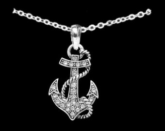 Anchor with Rope Nautical Rhinestone Necklace