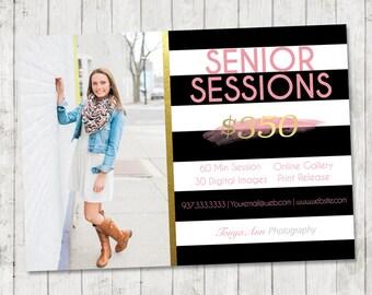 Modern Senior Marketing Template | 5x7 Senior Photography Template | Instant Download