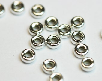 20pcs 4MM 925 sterling silver Jewellery Findings Rondelle Spacers,4mm diameter, 2.5mm thick, hole 1mm. - FDSSS0009
