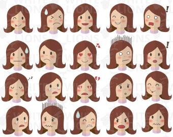 Set of woman emotions Clip Arts