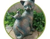 Cat & Bird statue Pet figure garden Resin Kitty Sculpture Home decor Art Gift