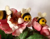 Needle felted Bumble Bee brooch or pin, made using soft merino wool