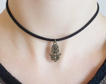 bronze hamsa necklace spiritual jewellery gift for women hamsa choker necklace black cord necklace suede choker protection necklace