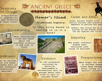 Printable Ancient Greece History Poster, Homer's Illiad Historical Inquiry