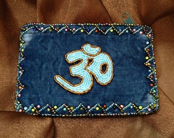 Hand Made Beaded Velvet Coin Purse With Ohm  #BAG-26