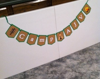 Camping theme party banner