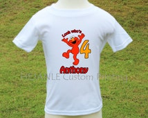 Elmo's Personalized Printed T-Shirt - Look who's Sesame Street Children Toddler Babies Onesie Shirt - Muppets - Red Monster