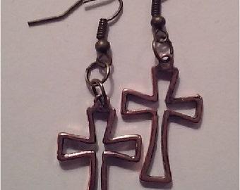 Antique Look Gold Cross Earrings