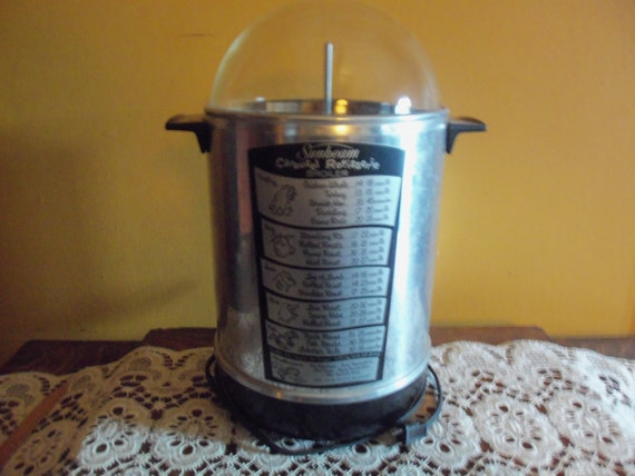 Glass Dome Cooker ~ Vintage sunbeam carousel rotisserie broiler glass dome upright