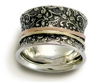 Filigree Silver band, Meditation ring, Sterling Silver and rose yellow gold, Wide Floral band Gold spinners Vintage style wedding ring sale