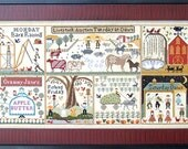 "CARRIAGE HOUSE SAMPLINGS ""The Farms of Hawk Run Hollow"" - Primitive Cross Stitch Sampler Pattern, Leaflet, Chart"