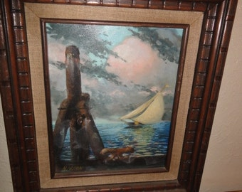 Vintage Small  Sailboat Oil Painting on Board/ Signed