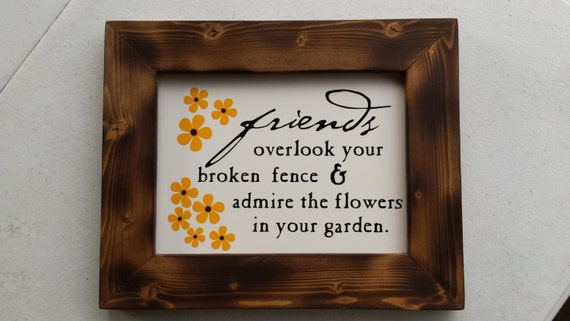 Framed Friends Sign - Best Friends - Gift for BFF - Friends Birthday - Friends and Flowers - Friendship wall decor - Friendship sign