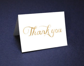 Thank You Cards • Gold Tone Watercolor Thank Yous • Unique Thank You Card • Script Watercolor Thank You • Shower Thanks • Wedding Thank yous