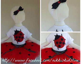 First birthday tutu set, 1st birthday, Lady Beetle, ladybug, red and black spotty, first birthday, 1st birthday tutu set