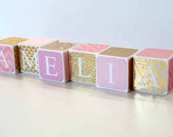 Baby blocks etsy custom baby name baby blocks nursery baby shower gift negle Choice Image