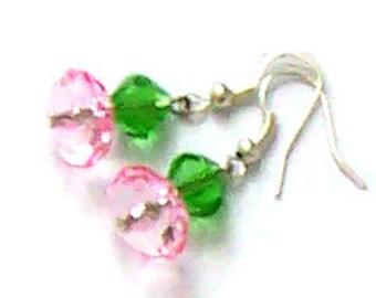 Pink & Green Crystal Earrings