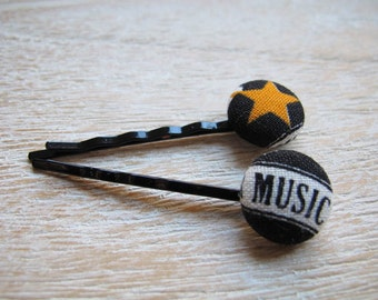 Button Bobby Pin - Music (Set of 2)