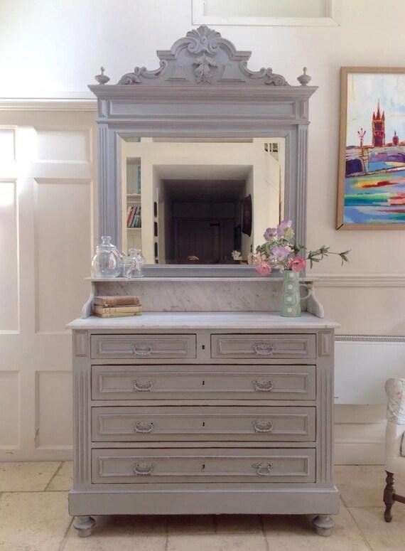 Fran ais antiques en marbre haut peint une commode avec miroir for Commode antique avec miroir