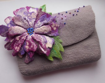 Fanny pack-Floral fanny pack-Felted wool purse-Felt bag-grey-purple-ready to ship