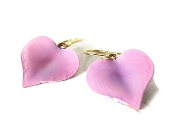 Pink-Lavender Heart earrings, handmade jewelry- great gift idea --indescribable color ... tagt pink lavender earrings agiftoflaughter