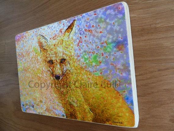 Red Fox, Animal Art, Art print, Art on Wood, Nature, Fox, Wood Block. 5x7, Home Decor, wall art, home and living, art, Claire Bull