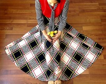 1970s Dress | Maxi Dress | Dream Dress | Vintage Checkered Maxi Dress | Retro Dress | Vintage Small Dress | Spring Fashion