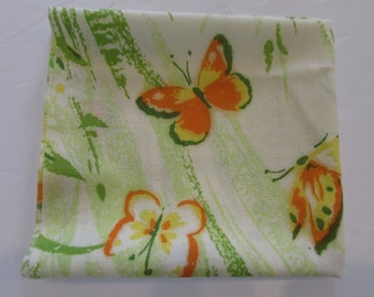 Vintage Sheets with Yellow and Orange Butterfly  - Fat Quarter