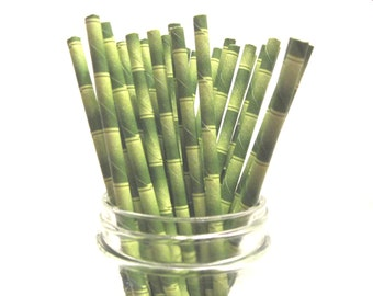 Bamboo Paper Straws - Luau Party Straws -  Drink Straws - Pool Party - Pool Side - Eco Party - Biodegradable - Bamboo Decore