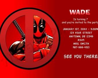 Deadpool Birthday Invitation - Printable