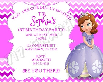 Sophia the 1st Birthday Invitation - Printable