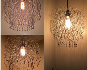 Pendant/ hanging lamp/ chandelier handmade w/chicken wire and crystal beads