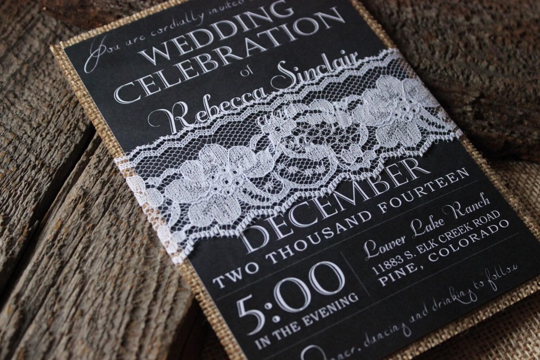 Chalkboard Wedding Invitations: Rustic Wedding Invitation Set Chalkboard Wedding Invitation