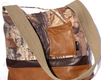 SALE! Upcycled Leather Purse with Realtree Camo