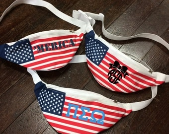 Monogrammed American Flag Fanny Pack for Sororities, Spring Break, Bachelorette Parties, and More!