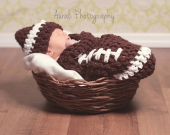 football cocoon an hat,Baby cocoon and hat, Newborn cocoon,crochet baby cocoon,photo prop,birth announcements,shower gift,newborn photo prop
