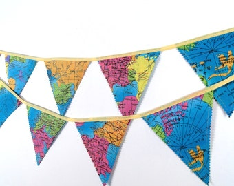 World Map Banner, Room Decoration, Bunting Banner, Fabric Flags, Nursery Decor, Birthday Decoration, Baby Shower