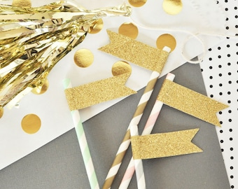 24 Gold and Silver Glitter Flags for Wedding. Bridal Showers. Glam Parties. Birthday Parties