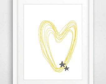 Printable Art Nursery Art Print Heart Print Scandinavian Poster Yellow Grey Wall Art Kids Room Wall Art Minimalist Poster Instant Download
