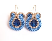 Small Blue Beige Soutache Swarovski crystal Earrings Embroidered Earrings
